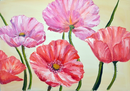 oil painting: Poppies, oil painting on canvas Stock Photo