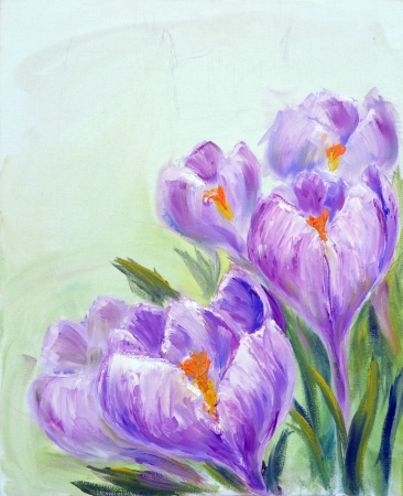 Crocuses, oil painting on canvas photo