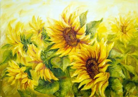 girasol: Girasoles soleados, pintura al �leo sobre lienzo