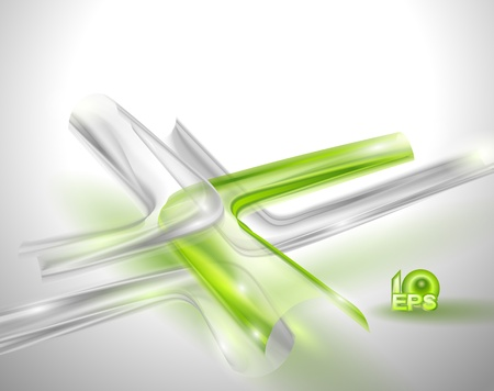 Abstract gray background with green elements Vector