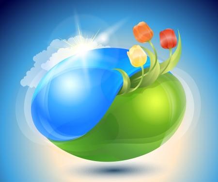 ochtend dauw: Lente Eco-pictogram met de natuur yin-yang