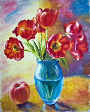 green life: Still life with tulips and peach, oil painting on canvas