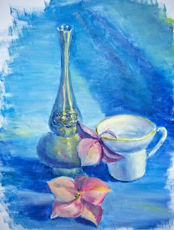 still life flowers: Still life with cup and flowers, oil painting on canvas