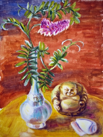 idol: Still life with flowers and small chinese idol, oil painting on canvas