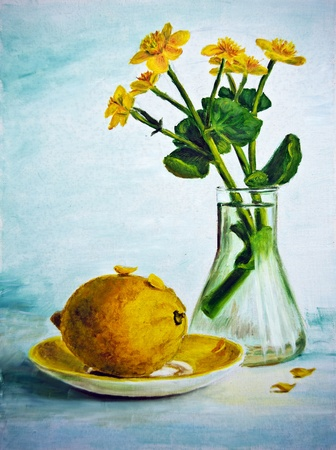 still life flowers: Still life with yellow flowers and lemon, oil painting on canvas