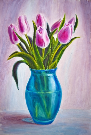 Still life with tulips, oil painting on canvas photo
