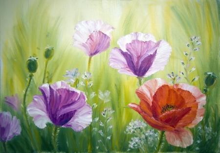 and painting: Amapolas en la pintura de aceite de la salida del sol, sobre lienzo