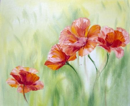 kunst: Poppies, ?l auf Leinwand Lizenzfreie Bilder