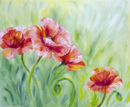 oil painting: Poppies,  oil painting on canvas