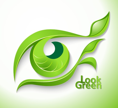 Eco icon  Look green  - eye with lashes-leaves Vector
