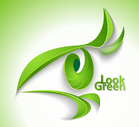 Eco icon  Look green  - eye with lashes-leaves