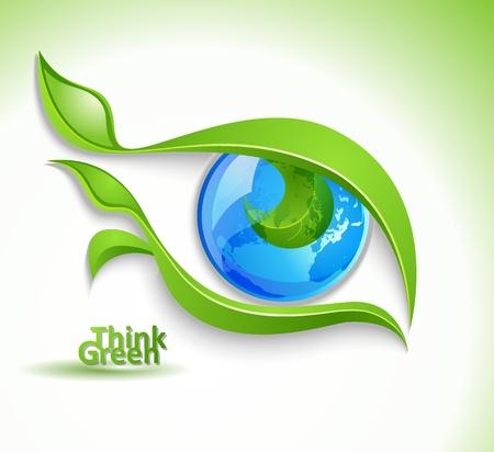 눈알: 에코 아이콘 - 속눈썹 잎과 눈 일러스트