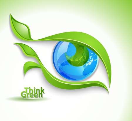 life metaphor: Eco icon - eye with lashes-leaves