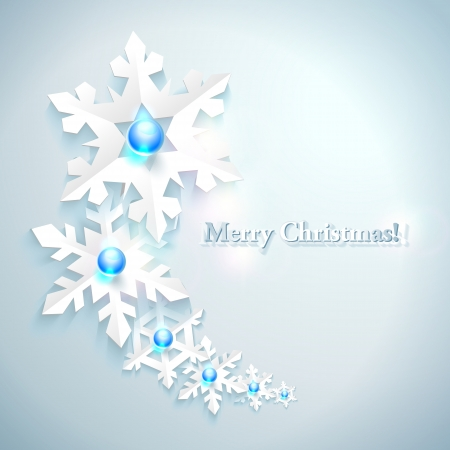 Abstract Christmas Background with paper snowflakes Stock Vector - 16883915