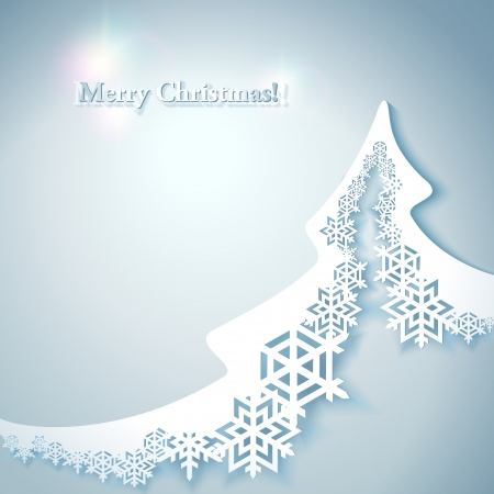 Abstract Christmas Background with paper christmas tree Vector