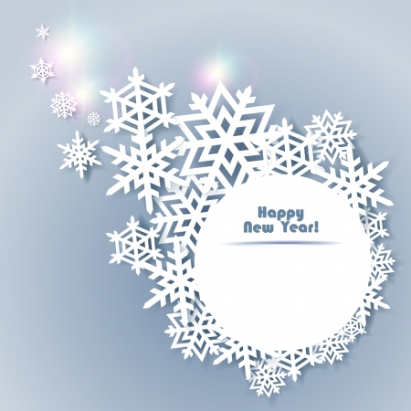 Abstract New year Background with paper snowflakes Vector