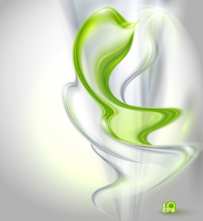 green swirl: Abstract gray waving background with green element