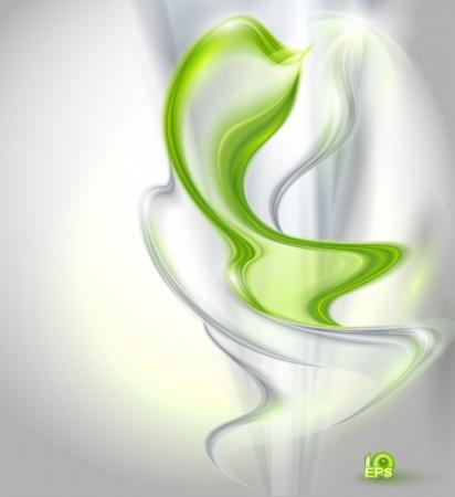 abstract smoke: Fondo abstracto ondulado gris con el elemento verde Vectores