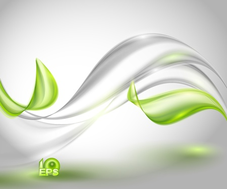 design element: Abstract gray waving background with green leaves Illustration