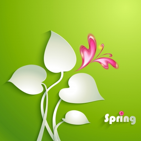 spring background: Spring background with leaves and butterfly