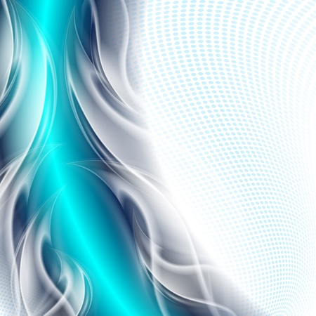 Abstract background blue arc with white waves Vector