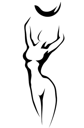 woman nude standing: Sketch of woman with Ball Illustration