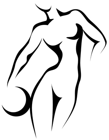 nude woman standing: Sketch of woman with ball