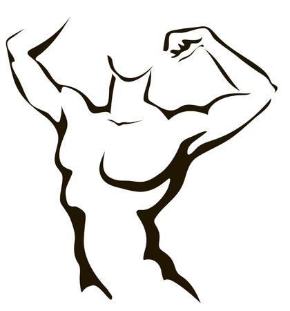 Sketch of athletic man