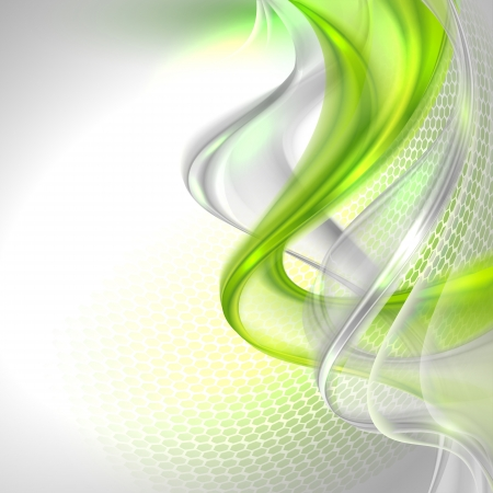Abstract gray waving background with green element Vector