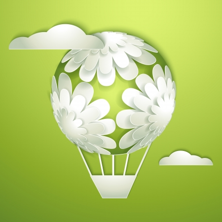 Card with a paper hot air balloon Vector
