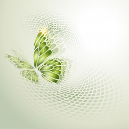 녹색 나비와 추상적 인 배경