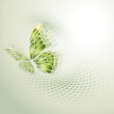 curve line: Abstract background with green butterfly