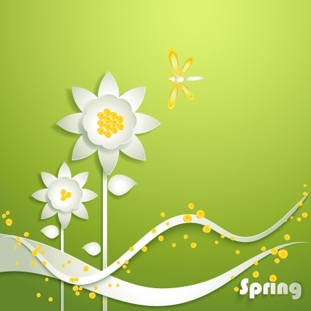 sprout growth: Abstract paper sunflowers with dragonfly