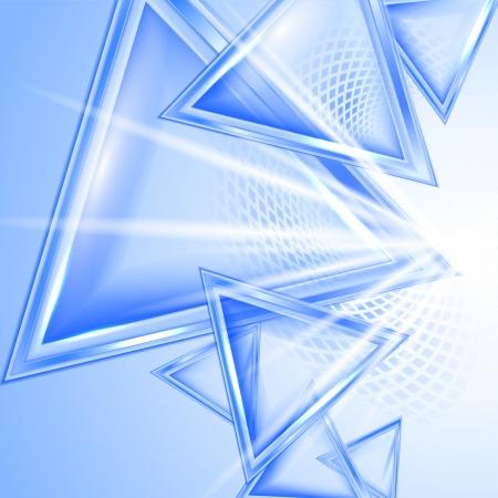 perspektiv: Blå abstrakt bakgrund med trianglar Illustration