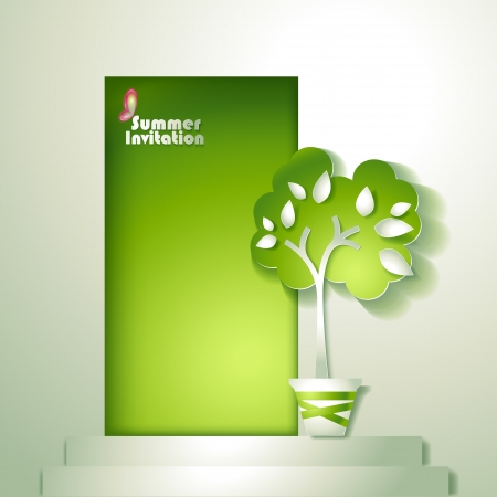 Card with stylized tree in pot near door Vector
