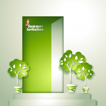 Card with stylized trees in pot near door Illustration
