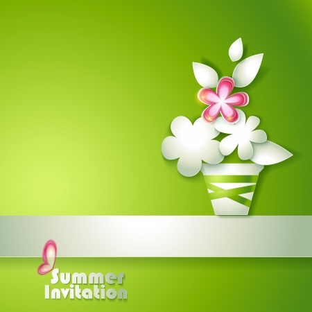 Card with stylized flowers in pot Vector