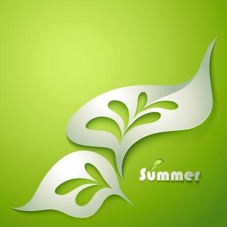 elegante: Folha de papel abstrata com elementos verdes Ilustração