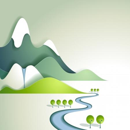 cartoon mountain: Paper mountain landscape Illustration