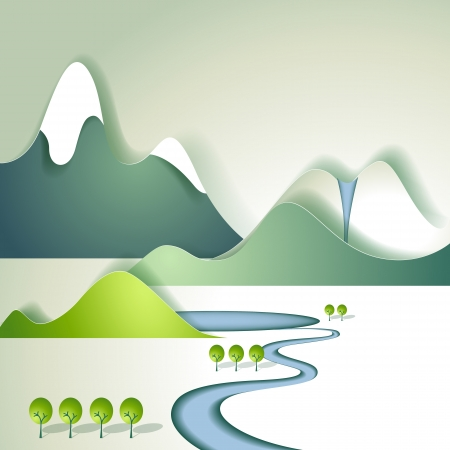 clean air: Paper mountain landscape Illustration