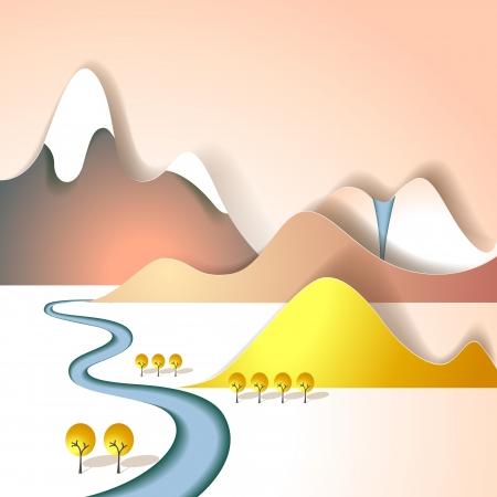 mountain cartoon: Paper mountain landscape Illustration