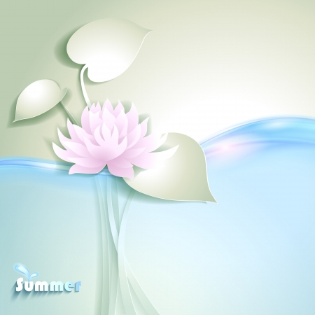 lake flowers: Card with stylized waterlily Illustration