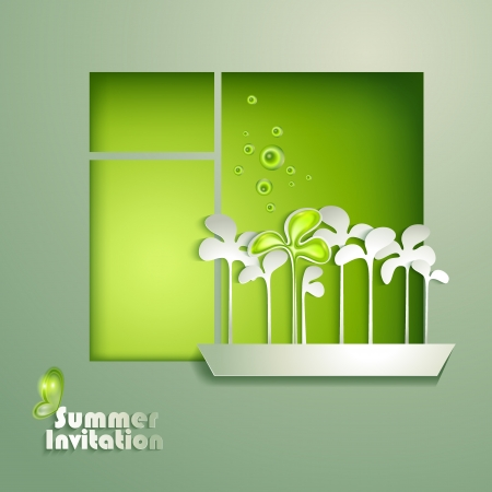 open window: Card with window and flowerpot Illustration