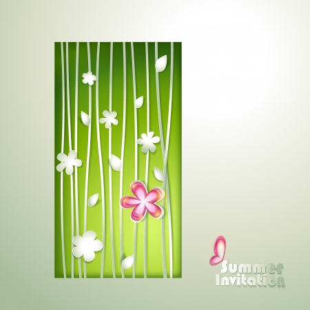 Card with window and flowers Vector