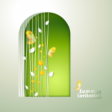 Card with window and butterflies Vector