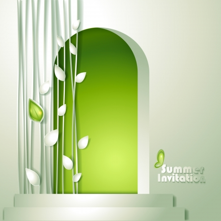 door leaf: Card with door and and leaves Illustration