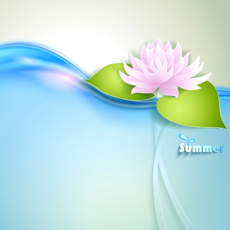 Card with stylized waterlily Vector