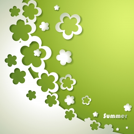 applique flower: Green background with paper flowers