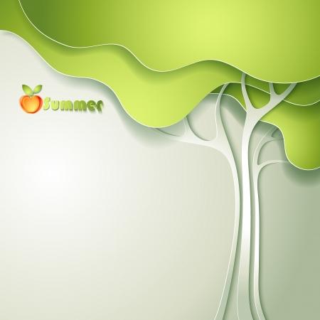 verde manzana: Tarjeta con el árbol de papel abstracta Vectores