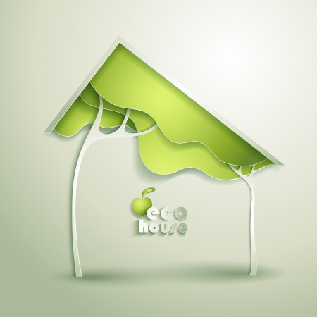 eco icons: Abstract vector GREEN eco house